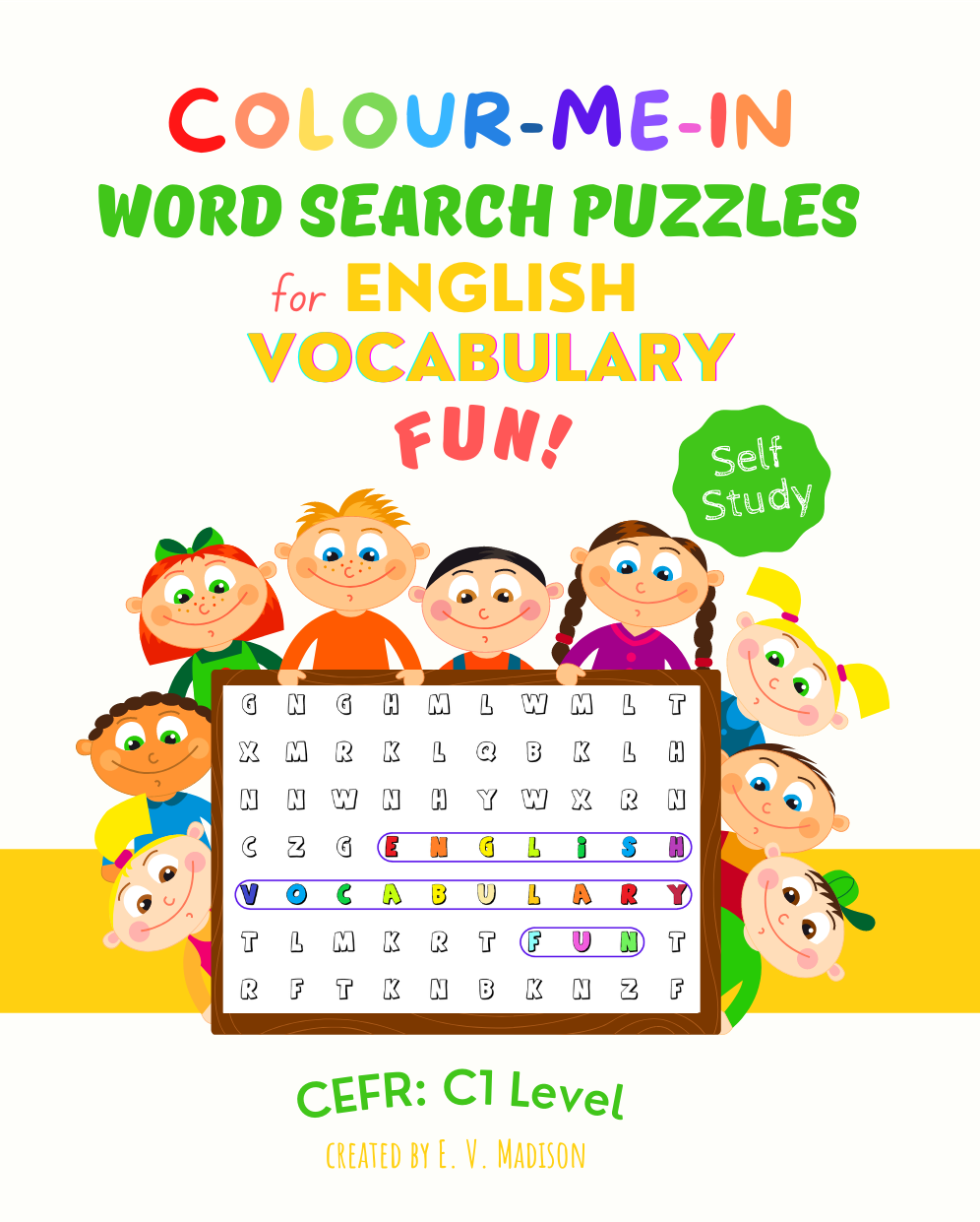 Colour-Me-In Word Search Puzzles for English Vocabulary Fun! C1 Level