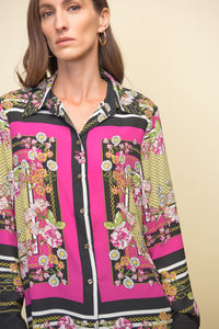 Multi print button shirt