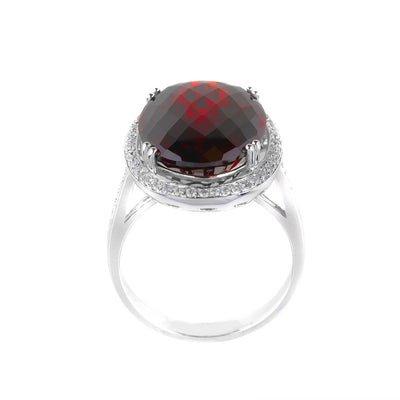 18K White Gold Garnet & Diamond Ring - 20479572 - H&H Jewellery Pty Ltd