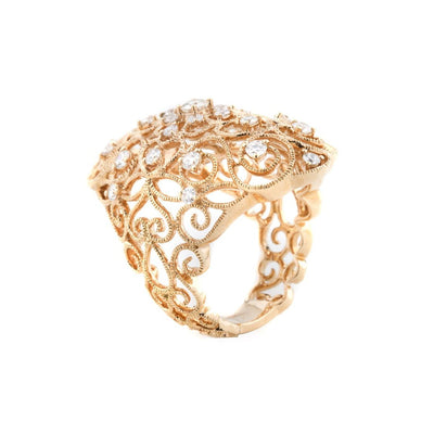 18k Rose Gold Filigree Diamond Ring - 20504557 - H&H Jewellery Pty Ltd