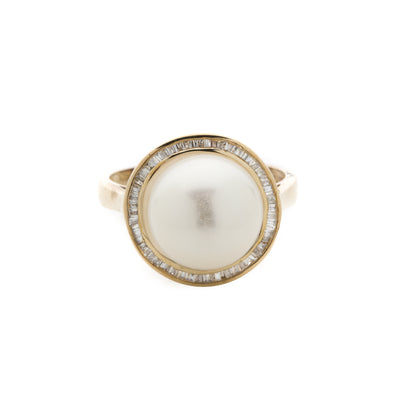 9K Yellow Gold Fresh Water Pearl & Diamond Ring- 20504977 - H&H Jewellery Pty Ltd
