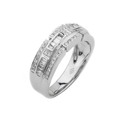 18k White Gold Baguette & Brilliant Diamond Wedding Ring - 20517175 - H&H Jewellery Pty Ltd