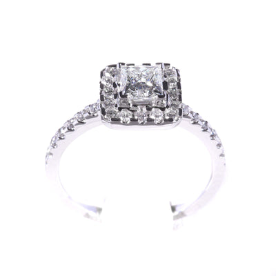 H&H Princess with Halo & Diamonds on Shoulders Engagement Ring - 20566401 - H&H Jewellery Pty Ltd