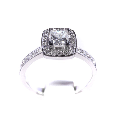 H&H Princess with Halo & Diamonds on Shoulders Engagement Ring - 20566418 - H&H Jewellery Pty Ltd