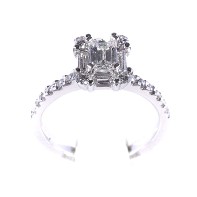 H&H Emerald Cut with Invisible Halo & Diamonds on Shoulders Engagement Ring - 20566425 - H&H Jewellery Pty Ltd