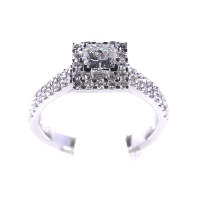 H&H Princess with Halo & Diamonds on Shoulders Engagement Ring - 20566449 - H&H Jewellery Pty Ltd