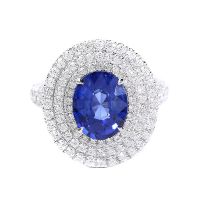 18K White Gold Ceylon Sapphire & Diamond Ring - 20568511 - H&H Jewellery Pty Ltd