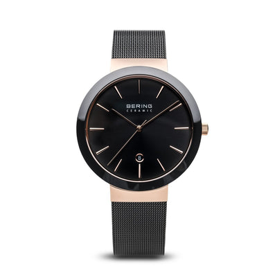 Bering Ceramic Polished Rose Gold Black Watch - H&H Jewellery Pty Ltd