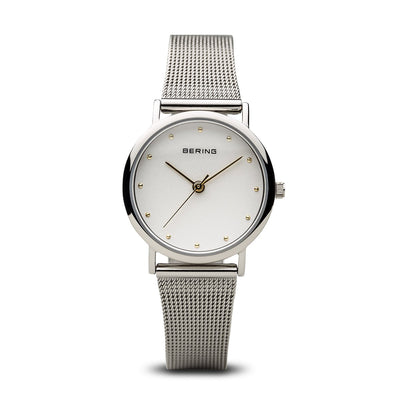 Bering Classic Polished Silver 26mm Mesh Watch - H&H Jewellery Pty Ltd