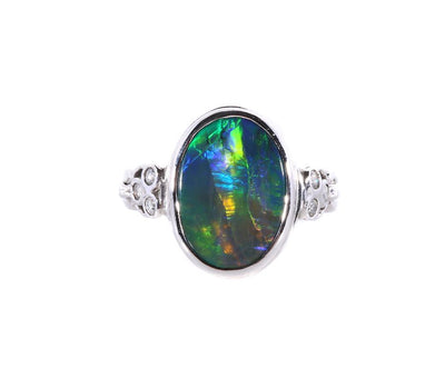 18K White Gold Solid Black Opal & Diamond Ring - 20515423 - H&H Jewellery Pty Ltd
