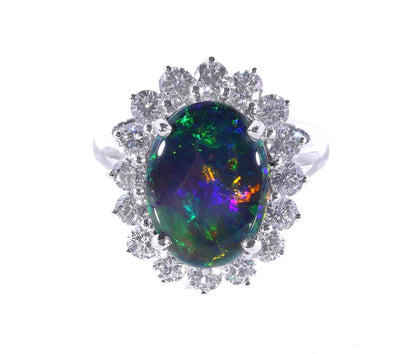 18K White Gold Solid Black Opal & Diamond Ring - 20558574 - H&H Jewellery Pty Ltd