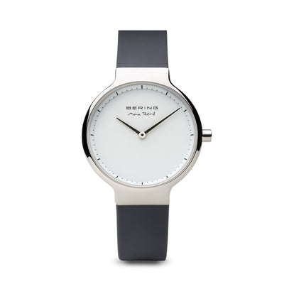 Bering Max René Polished Silver Silicone Watch - H&H Jewellery Pty Ltd