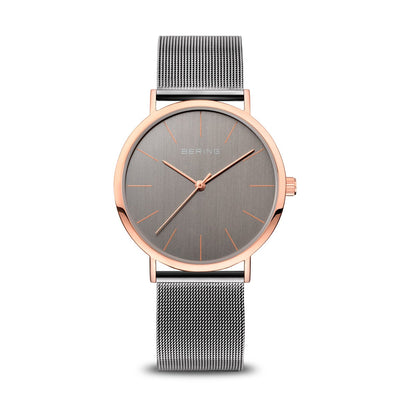 Bering Classic Polished Rose Gold Grey Mesh Watch - H&H Jewellery Pty Ltd