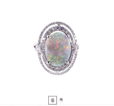 18K White Gold Solid Light Opal & Diamond Ring - 20545284 - H&H Jewellery Pty Ltd