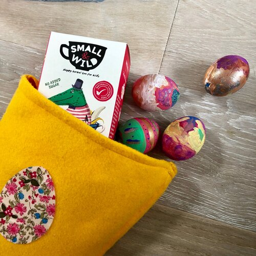 Easter Basket and eggs with small & wild tea