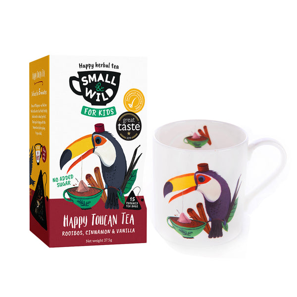Happy Toucan tea and toucan mug gift set for kids