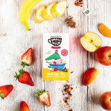 Ingredients for fruit tea for kids - banana, strawberry and apple