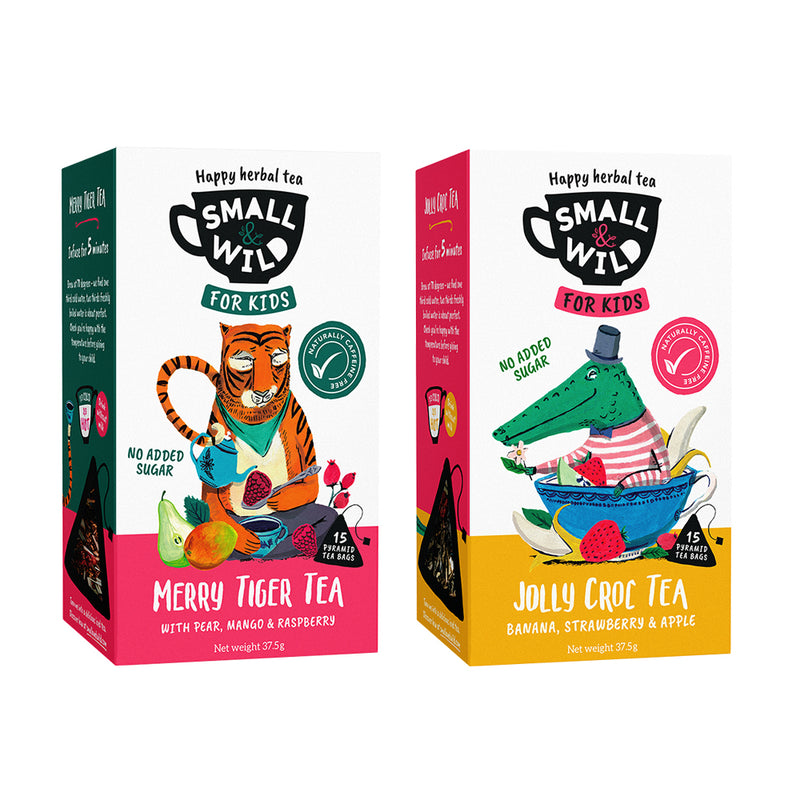 Merry Fox and Jolly Croc tea bundle with kids mugs