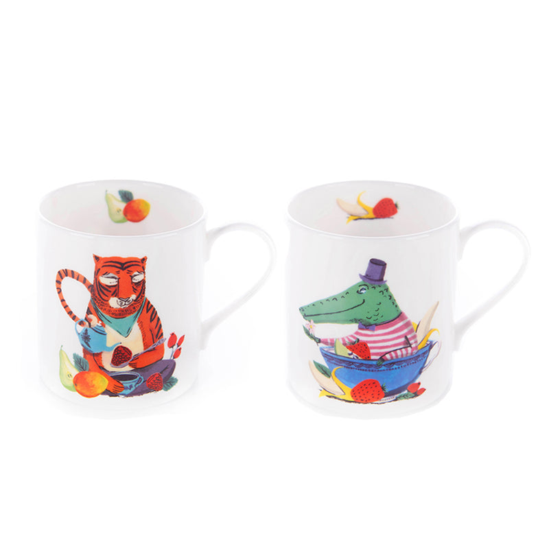 Merry Tiger and Jolly Croc mug bundle with tea
