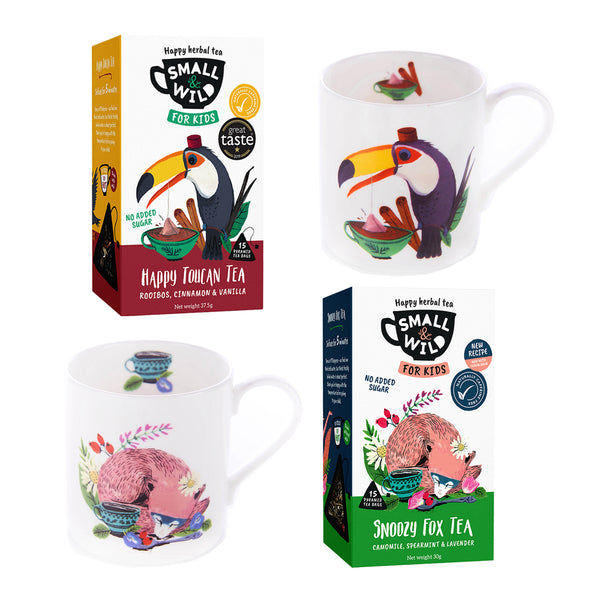 Happy Toucan and Snoozy Fox bundle with mugs