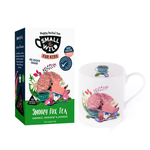 Snoozy Fox chamomile tea and fox mug for kids