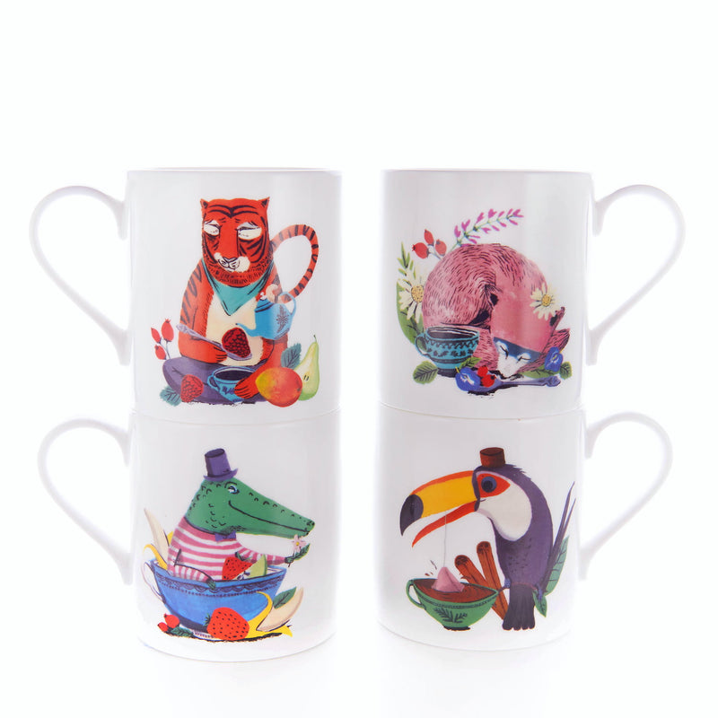 Animal mugs for kids with tiger, fox, crocodile and toucan illustrations