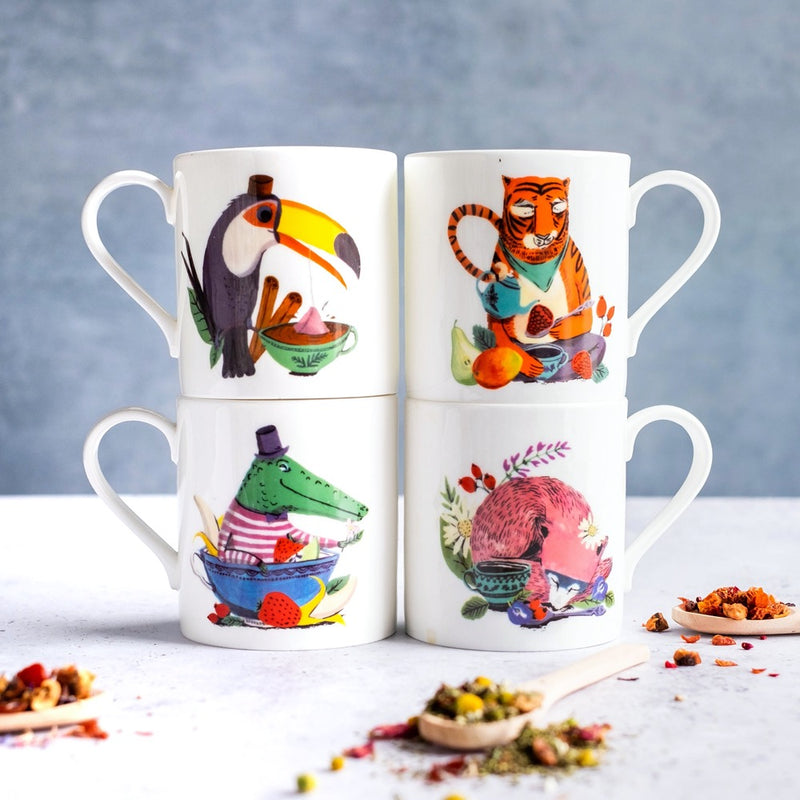 Small & Wild bone china mugs for kids with animal illustrations