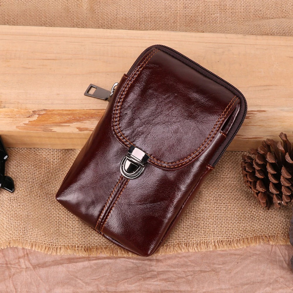 LUXMO Genuine Leather Phone Bag
