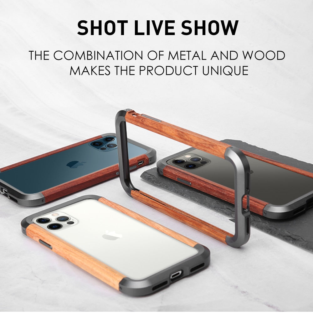 Case For iPhone 12 Mini 12Pro Max 11 Pro XS XR 7 8 Phone Cover Aluminum Natural Wood Metal Camera Protect Wireless Charging Case
