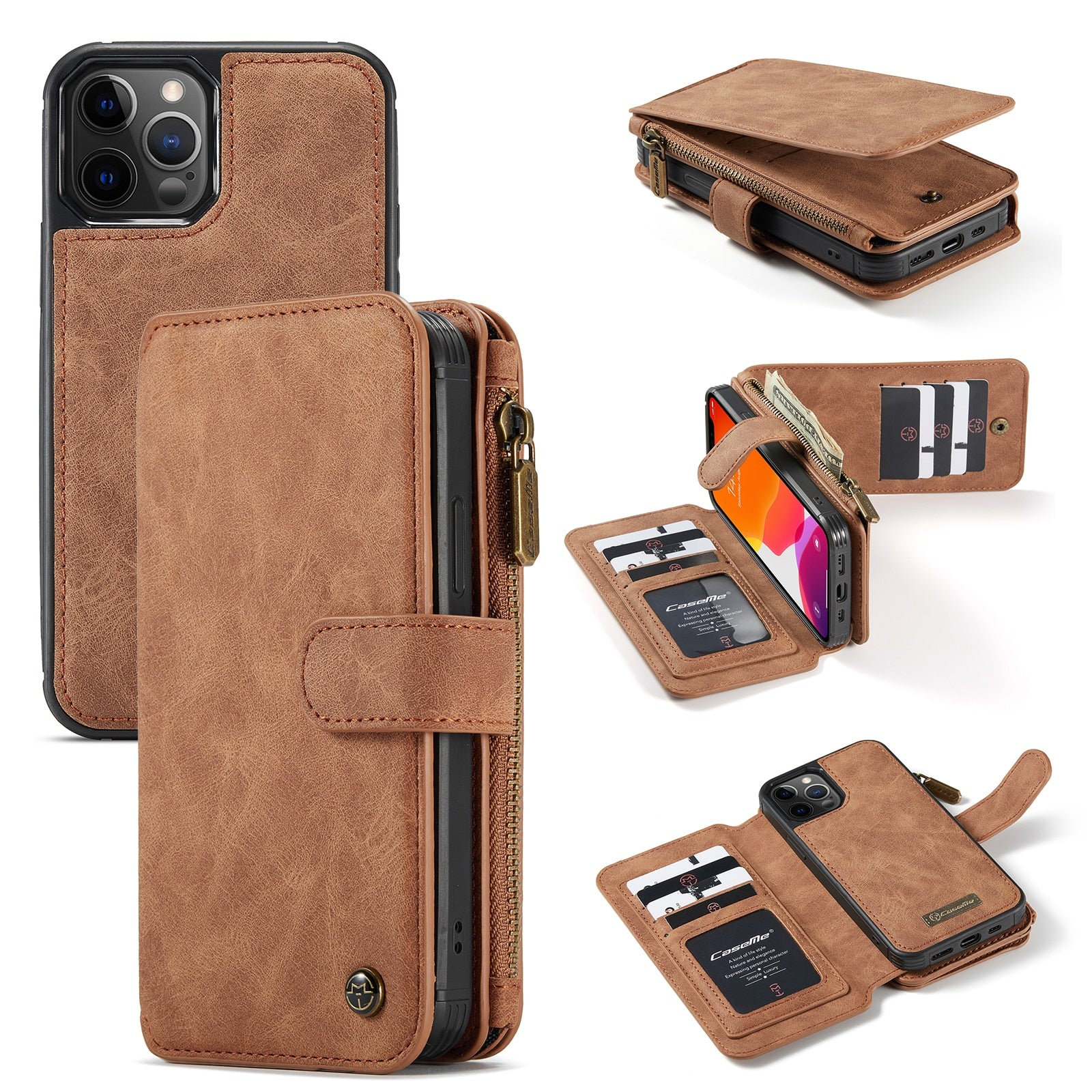 CaseMe For iPhone 12 Pro Max/12 mini Zipper Wallet Leather Original Flip Wallet Case Zipper Flip Leather Cover For iPhone 11 pro