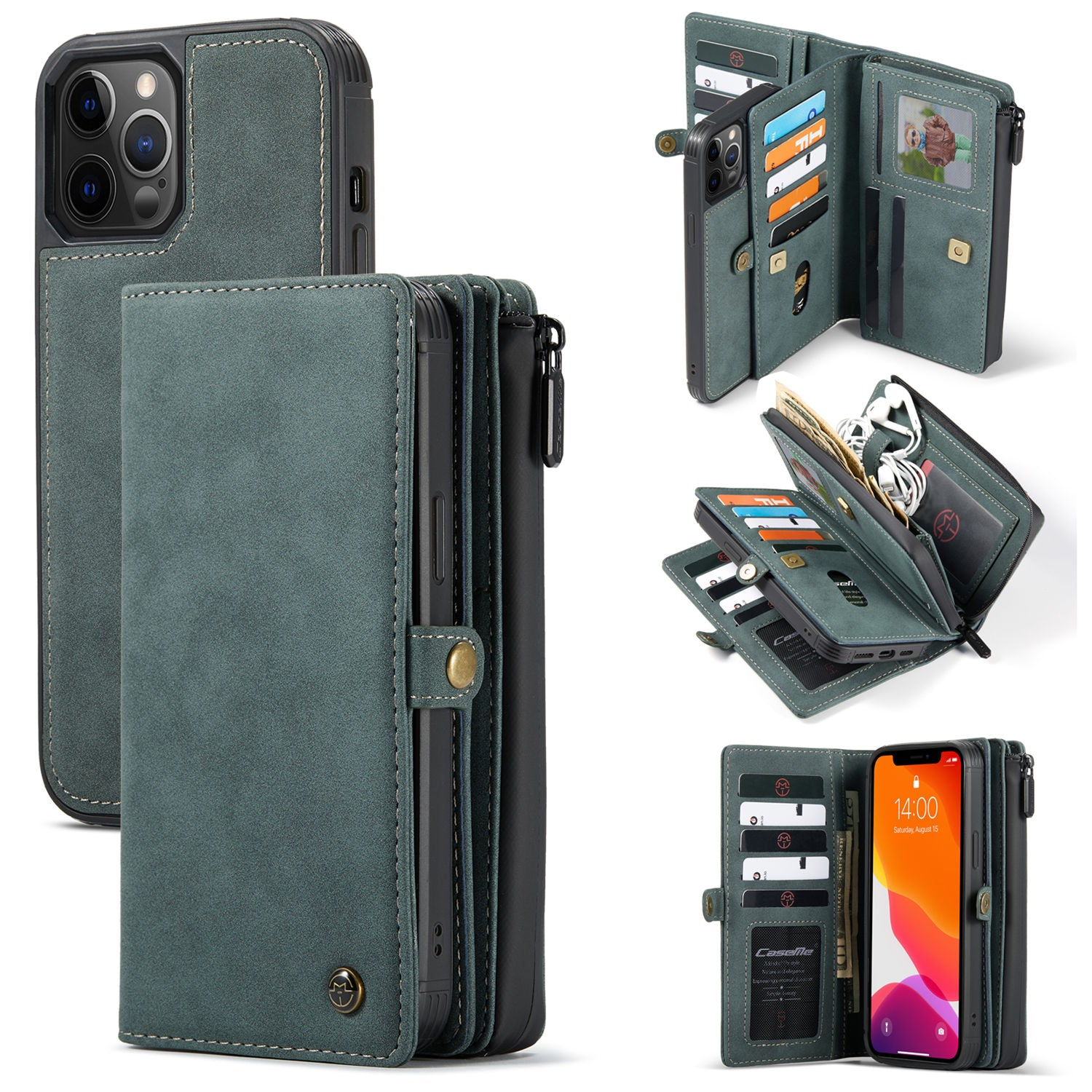 CaseMe Wallet Case For iPhone 12 mini/iPhone 12 Por Max Zipper Wallet Leather Original Zipper Flip Wallet Leather for 12 Por Max