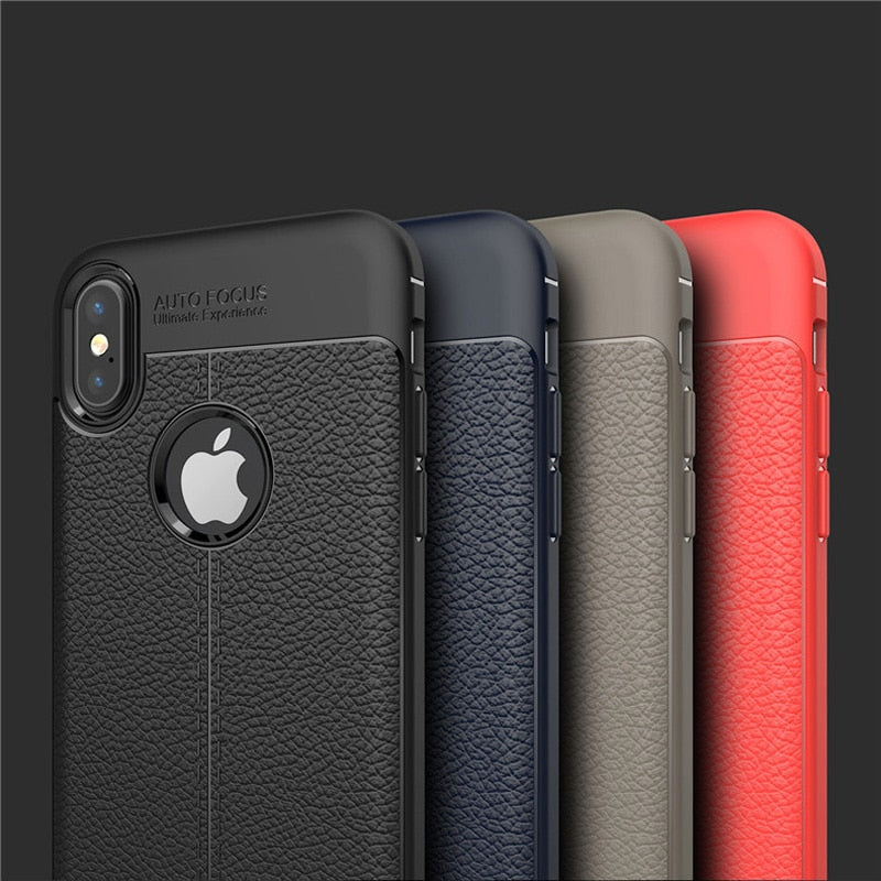 Ultra Thin Phone Cases For iPhone 12 11 pro 7 8 Plus XS Max Cover Leather Skin Soft TPU Silicone Case For iPhone XR X 11 Shell