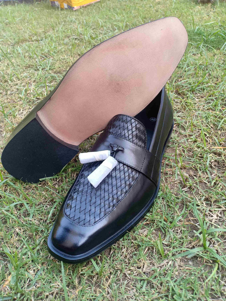 Upper Hand Woven Black Slip On Formel Leather Shoes For Men