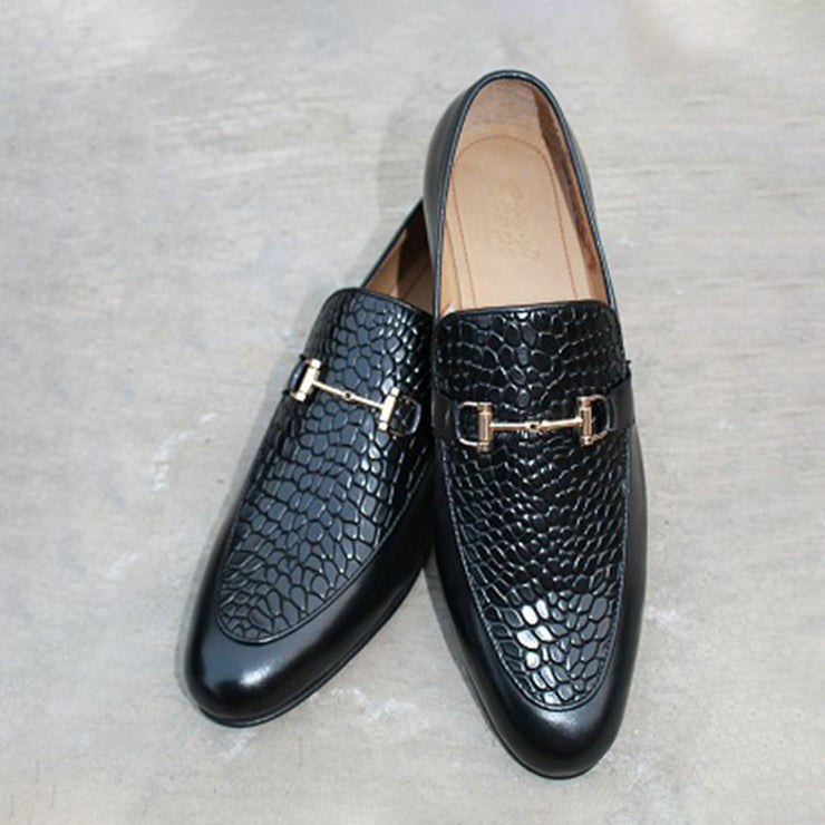 Crocodial Texture Slip On Black with Buckle Formel Leather Shoes For Men