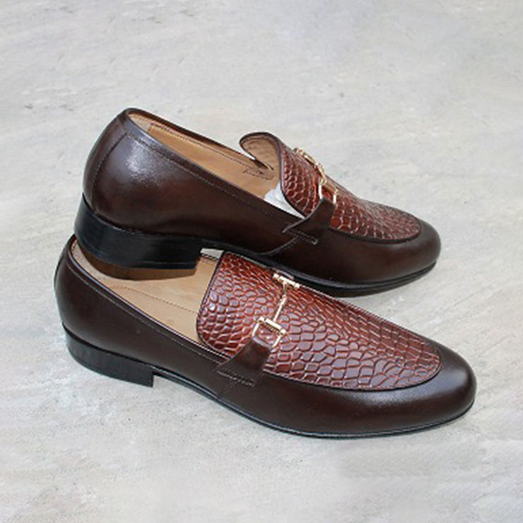 Crocodial Texture Slip On Brown with Buckle Formel Leather Shoes For Men