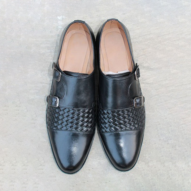 Double Buckle Black Half Woveb Formal Leather Shoes For Men