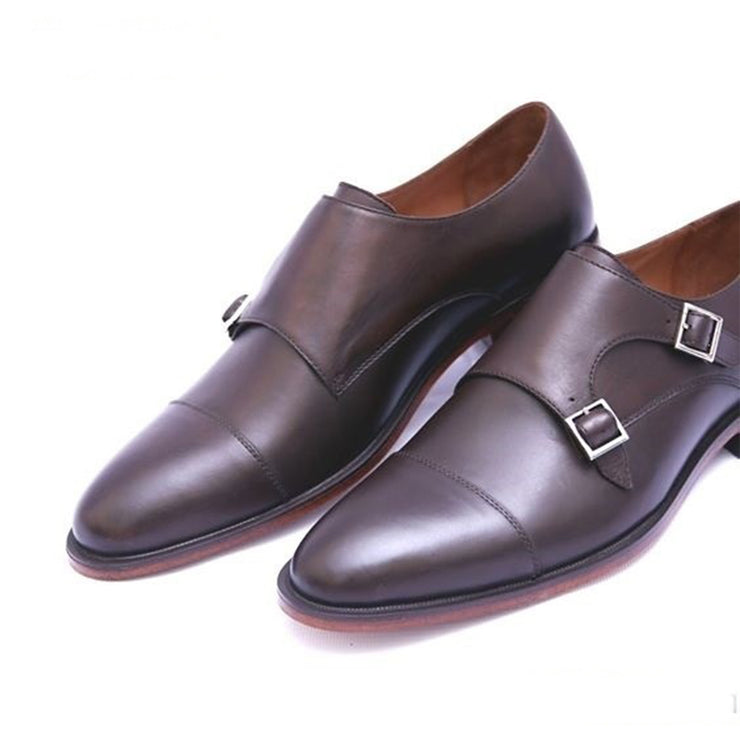 Brown Double Buckle 003-12 Formal Leather Shoes For Men
