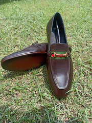 Slip On Brown with Gucci Stripe Formel Leather Shoes for Men