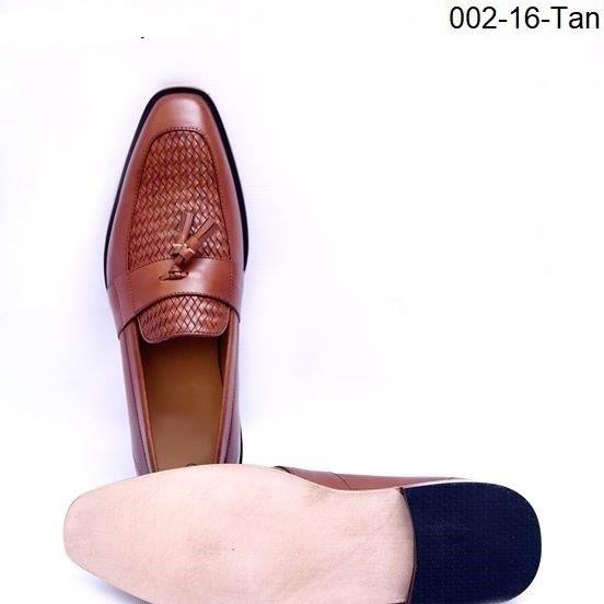 Upper Hand Woven Tan Slip On Formal Leather Shoes for Men