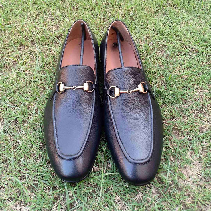 Milled Slip On Black Formal Leather Shoes for Men