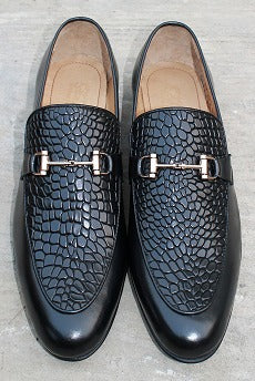 Crocodial Texture Slip On Black Buckle Crocodial Formel Leather Shoes For Men