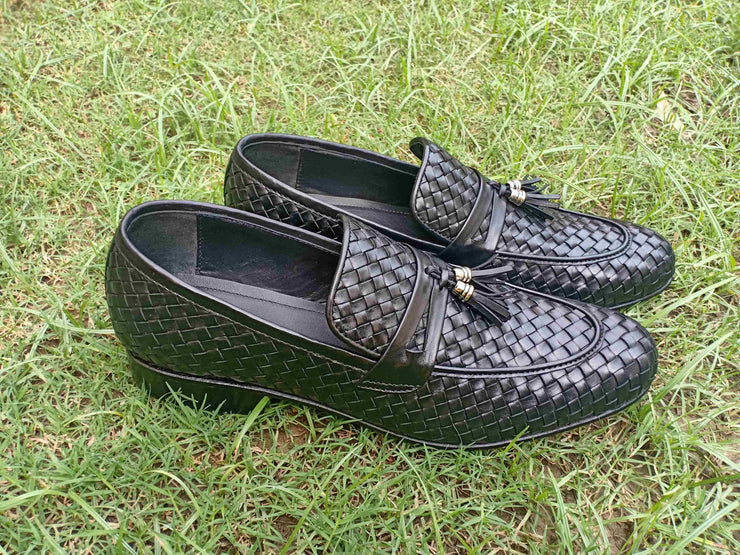 Black Upper Woven 002-17 Formal Leather Shoes for Men