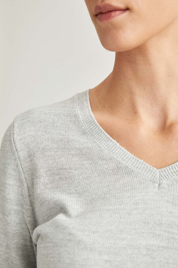 Regular Fit V Neck Long Sleeve Tricot Pullover - Grey