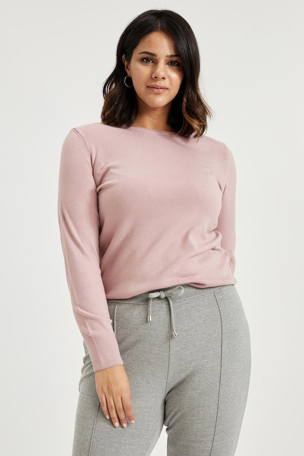 Regular Fit Crew Neck Long Sleeve Tricot Pullover - Pink