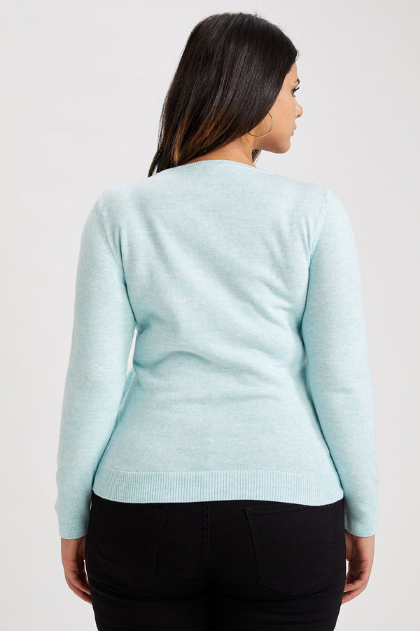 Regular Fit Crew Neck Long Sleeve Tricot Pullover - Turquoise