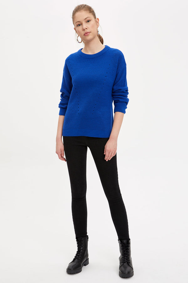Regular Fit Crew Neck Tricot Pullover - Blue