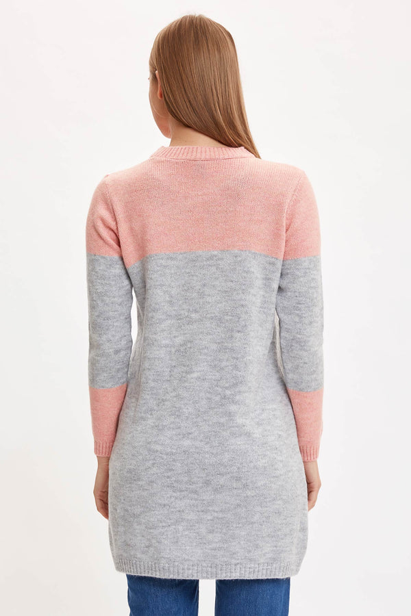 Regular Fit Crew Neck Long Sleeve Tricot Tunic - Pink