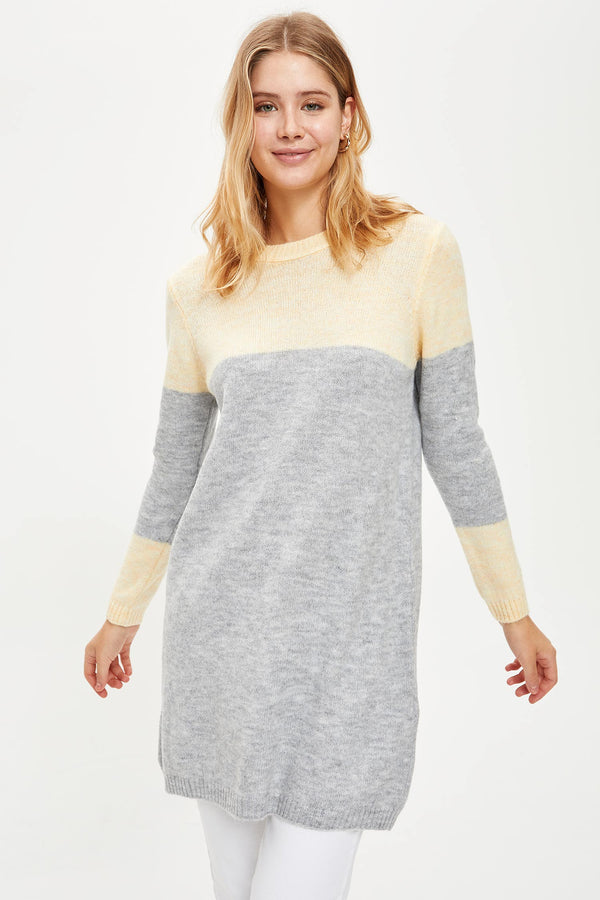 Regular Fit Crew Neck Long Sleeve Tricot Tunic - Yellow