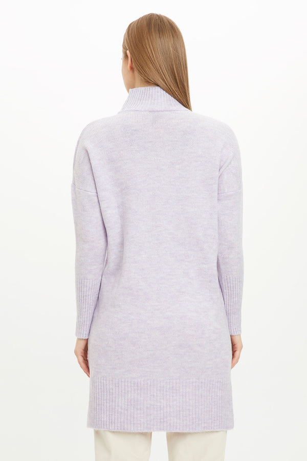 Regular Fit Crew Neck Long Sleeve Tricot Tunic - Purple
