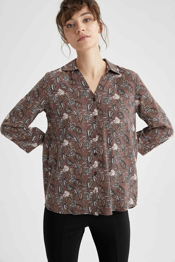 Regular Fit V Neck Woven Long Sleeve Shirt - Brown